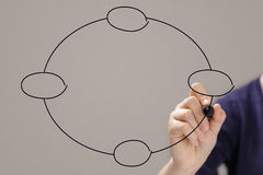 Female teen hand draw a chart or plan from circles Stock Images