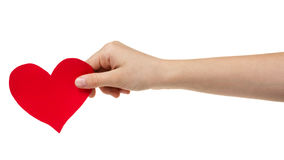 Female teen hand holding paper heart Stock Images