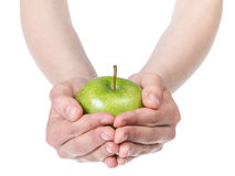 Female teen hands holding green apple Stock Images