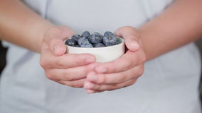 Female teen hand show bowl full of blueberries stock video