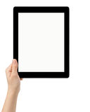 Female teen hand using tablet pc with white screen Stock Images