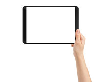 Female teen hand using tablet pc with white screen Stock Image