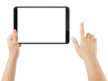 Female teen hand using tablet pc with white screen Royalty Free Stock Photo