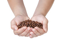 Female Teen Hands Hold Coffee Beans Royalty Free Stock Images