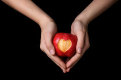 Female teen hands holding apple with carved heart. Isolated on black stock images