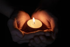 Free Female Teen Hands Holding Burning Candle Stock Photos - 35572953
