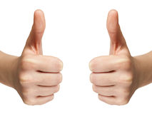 Female teen hands shows thumbs up Royalty Free Stock Image