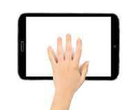 Female teen hands using tablet pc with white screen, Stock Photo