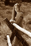 Female Teen Rural Sepia Stock Images