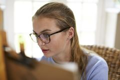 Female Teenage Artist Sitting At Easel Drawing Picture stock photos