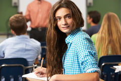 Female Teenage Pupil In Classroom Stock Photo