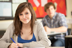 Female Teenage Student Studying In Classroom Royalty Free Stock Photo