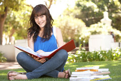 Female Teenage Student Studying In Park Royalty Free Stock Photography