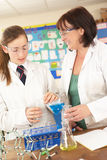 Female Teenage Student And Tutor In Science Class Stock Photos