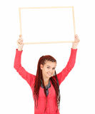 Female teenager with blank post Royalty Free Stock Photography