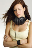 Female teenager with headphones Royalty Free Stock Photos