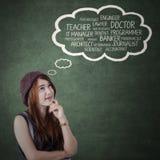 Female teenager imagine her future job Stock Images