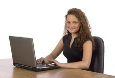 Female teenager at the laptop Royalty Free Stock Photos
