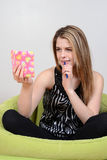 Female teenager reading diary Royalty Free Stock Photography