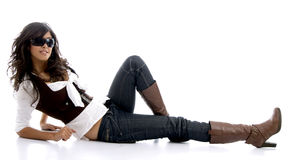 Female teenager resting on floor Stock Image