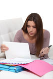 Female teenager revising Royalty Free Stock Photos