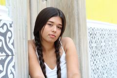 Female teenager with sad expression stock photos
