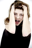 Female teenager screaming against violence Royalty Free Stock Images