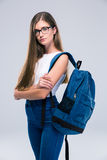 Female teenager standing arms crossed Royalty Free Stock Photo