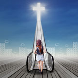 Female teenager walks to the heaven Royalty Free Stock Image