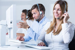 Female telemarketer during work Stock Photography