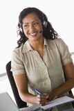 Female telesales worker Stock Photo
