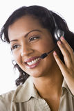 Female telesales worker. Close-up of female telesales worker Stock Photos
