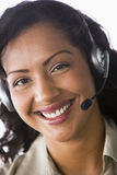 Female telesales worker. Close-up of telesales worker Royalty Free Stock Photos