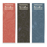 Female Tennis Gears Set Of Three Abstract Vertical Banners Royalty Free Stock Images