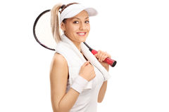 Female tennis payer holding a racket Royalty Free Stock Photos