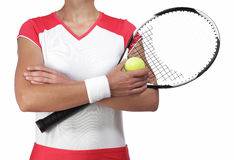 Female tennis player crossing arm Royalty Free Stock Images