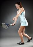 Female tennis player executing a forehand Stock Image