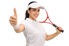 Female tennis player giving a thumb up Stock Images
