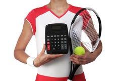 Female tennis player holding a calculator Stock Photos