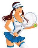 Female tennis player. Isolated on white - Vector available Stock Image