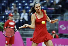 Female tennis player Jelena Jankovic returns the ball to Magdalena Rybarikova Royalty Free Stock Images