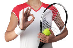Female tennis player making the sign all is well Stock Image