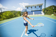 Female tennis player performing a drop shot Royalty Free Stock Photography