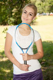 Female tennis player. Portrait of female tennis player stock image