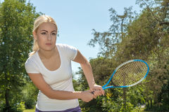 Female tennis player. Portrait of female tennis player royalty free stock photography