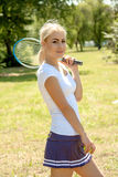 Female tennis player. Portrait of female tennis player royalty free stock image