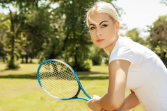 Female tennis player. Portrait of female tennis player stock photography