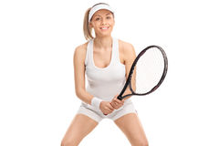 Female tennis player posing with a racket Royalty Free Stock Images