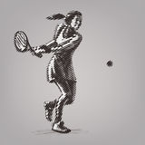 Female tennis player with racket. Royalty Free Stock Photo