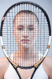 Female tennis player with racquet Royalty Free Stock Photos